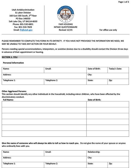 Fair Housing Questionnaire