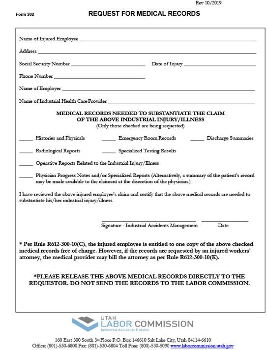 Form 302 - Medical Records - Copies