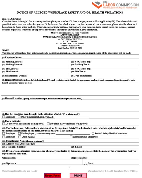 Notice Alleged Workplace SandH Violation